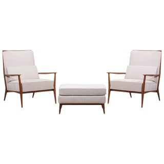 Pair of Lounge Chairs With an Ottoman by Paul McCobb for Directional, Us, 1950s For Sale