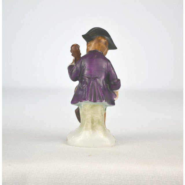Antique Porcelain Monkey Musician, from Germany, Purple Coat For Sale - Image 4 of 8