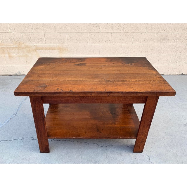 L. & J.G. Stickley, Inc. Antique American Craftsman Library/ Work Table, Solid Oak For Sale - Image 4 of 10