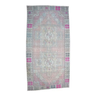 1950s Vintage Turkish Oushak Rug - 4′2″ × 8′4″ For Sale