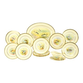 Minton Hand Painted Artist Signed Fish Service with Platter, 12 Plates and Gravy For Sale
