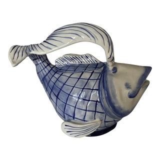 Blue & White Ceramic Fish Teapot For Sale