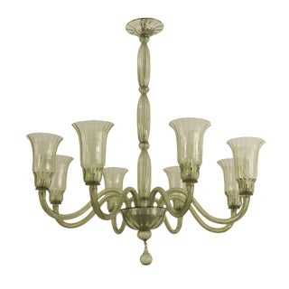 1940s Italian Green Tinted Venetian Murano Glass Eight Arm Chandelier For Sale