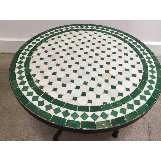20th Century Moroccan Mosaic Tile Bistro Table on Iron Base For Sale - Image 4 of 5
