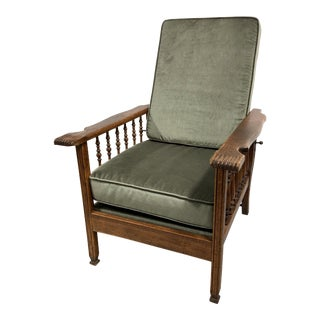 Antique Stickley Style Morris Reclining Lounge Chair in Oak For Sale