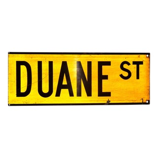 "1960s New York City Yellow Reflective Street Sign ""Duane St"" - Tribeca For Sale"