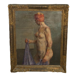 """20th Century Vintage """"Woman With Purple Towl"""" Oil Painting on Canvas For Sale"""