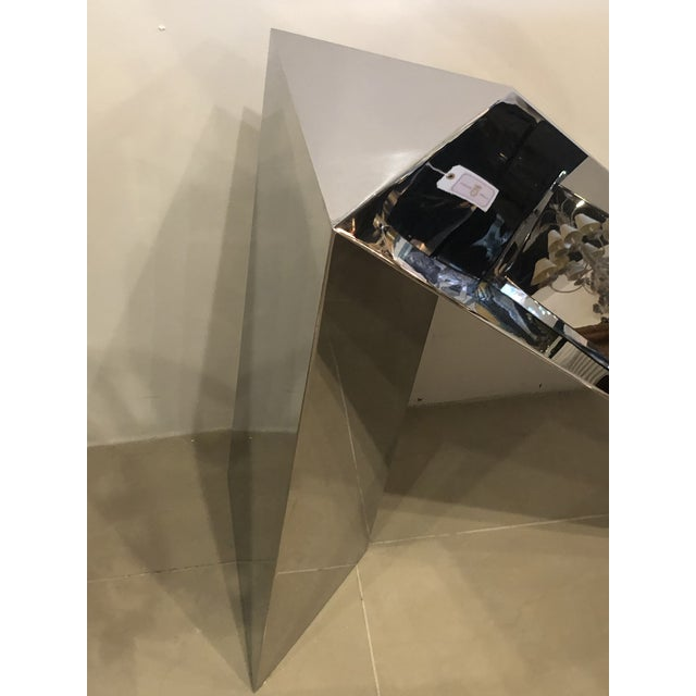 Hollywood Regency Vintage Modern Polished Stainless Steel Zig Zag Geometric Console Table For Sale - Image 3 of 12