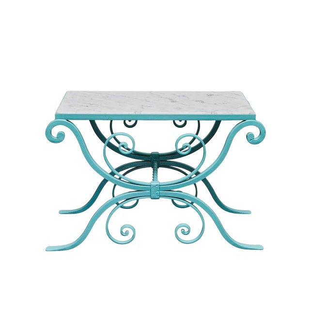 Wrought Iron Table With Marble Top For Sale