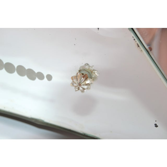 Silver Italian Mid-Century Modern, Faceted & Etched Venetian Wall Mirror For Sale - Image 8 of 13