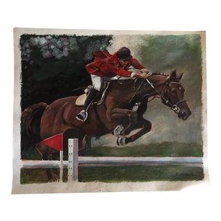 """Show Jumper"" Original Illustration Painting For Sale"