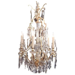 Early 20th C French Bronze Doré and Lead Crystal Chandelier