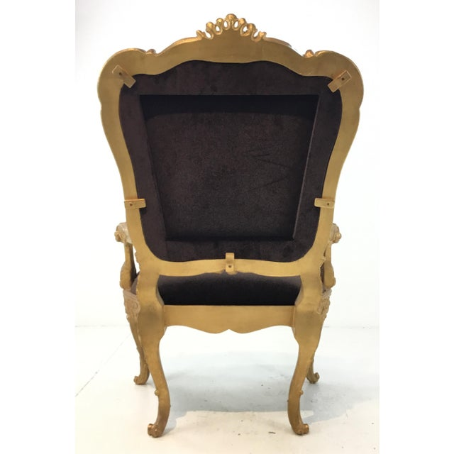 Vintage Italian Gold Gilt and Chocolate Velvet Carved Wood Arm Chairs - a Pair For Sale In Atlanta - Image 6 of 7