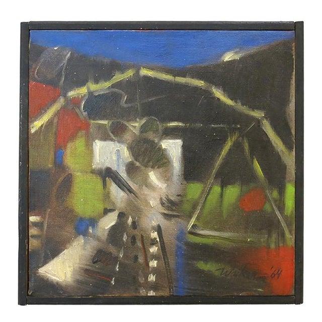 Canvas Vintage Jerome Walker, Abstract Oil on Canvas, Framed For Sale - Image 7 of 7