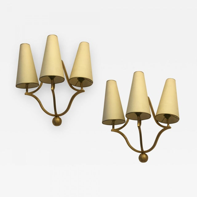 "Jean Royere Gold Leaf Wrought Iron Pair of Sconces Model ""Jacques"" For Sale - Image 9 of 9"