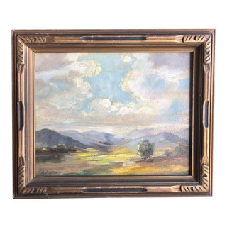 1920s Olivia D Pennington Countryside Landscape Oil on Canvas Signed Painting For Sale