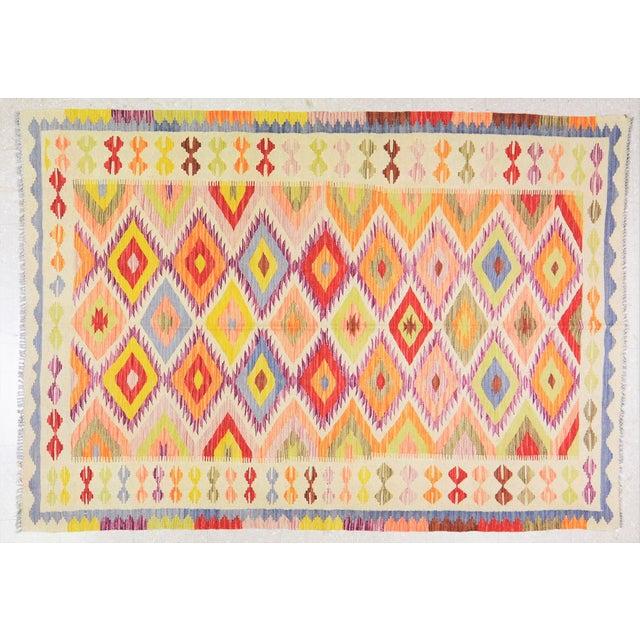 "2000 - 2009 Vintage Afghan Hand Made Organic Wool Maimana Kilim,5'8""x8'2"" For Sale - Image 5 of 5"