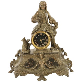 Late 19th Century French Seated Man Mantle Clock, Signed Paris For Sale