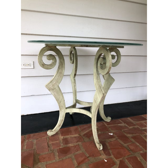 Mid-Century Modern Drexel Heritage Metal Scroll Side Table For Sale - Image 3 of 8