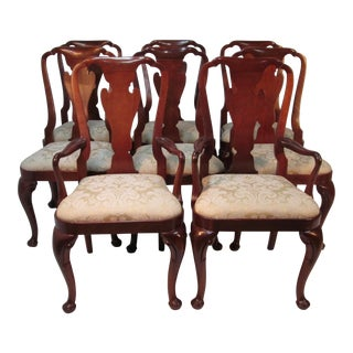 1970s Vintage Mahogany Queen Ann Dining Chairs by Baker- Set of 8 For Sale