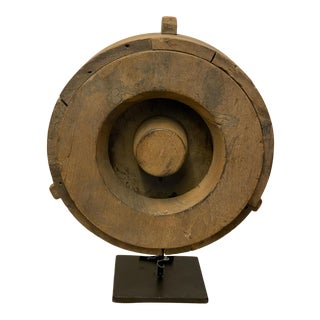 Wooden Wheel on Stand For Sale