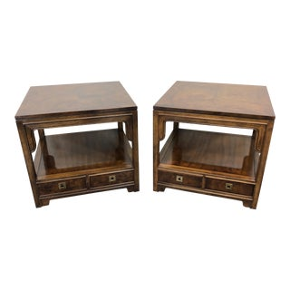 Drexel Heritage Asian Chinoiserie Style Square End Side Tables For Sale