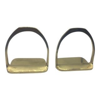 Brass Stirrup Bookends - A Pair