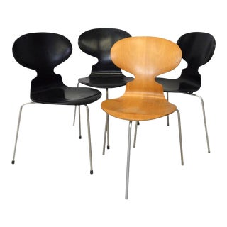 Set of Four Arne Jacobsen for Fritz Hansen Three Leg Ant Chairs