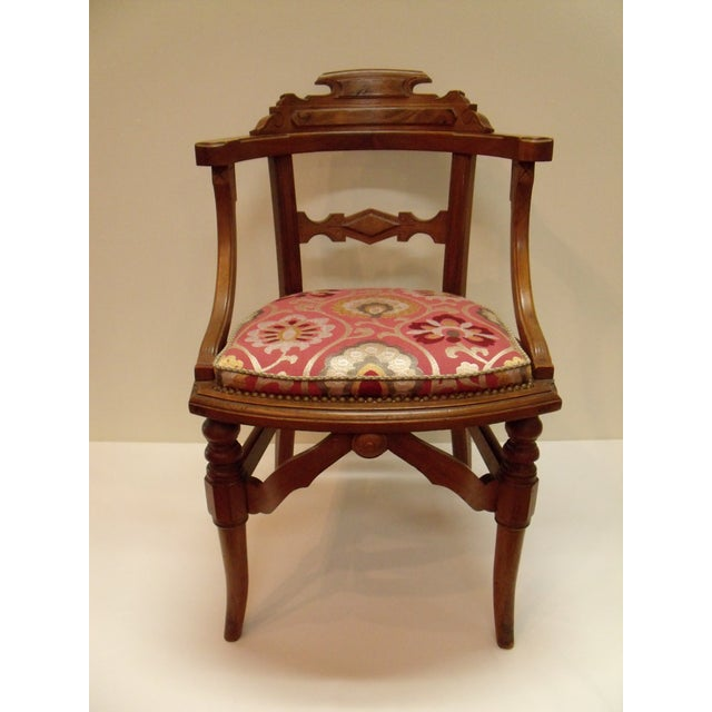 Brown Eastlake Manuel Canovas Fabric Upholstered Mahogany Desk Chair For Sale - Image 8 of 8