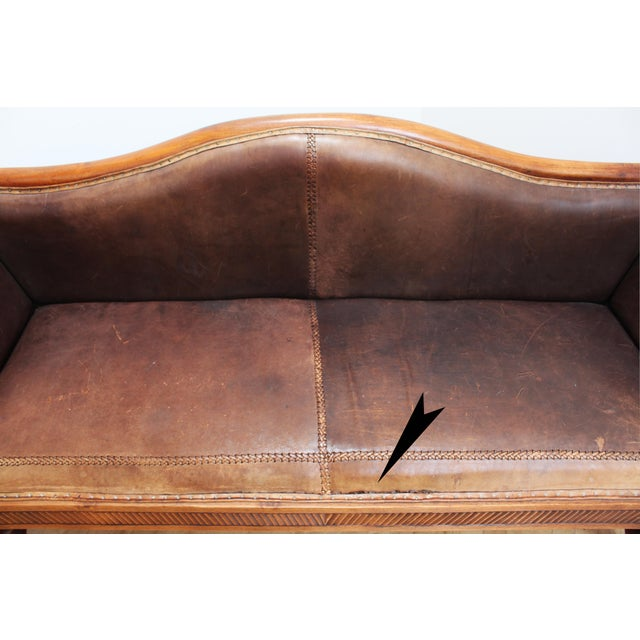 Mahogany Chippendale Bench Sofa - Cape Buffalo Leather For Sale - Image 11 of 12