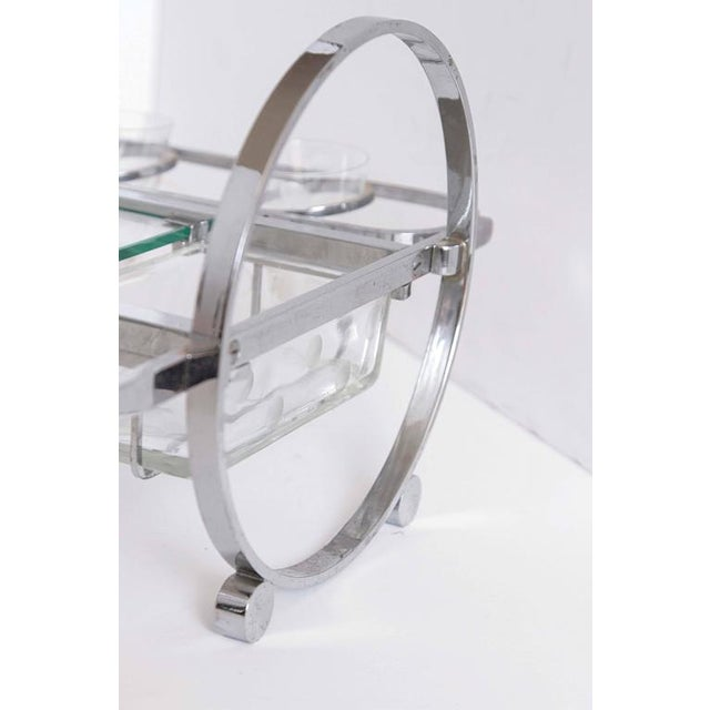 Silver Complete Original Gyroscopic Machine Age Art deco Cocktail Serving Caddy For Sale - Image 8 of 11