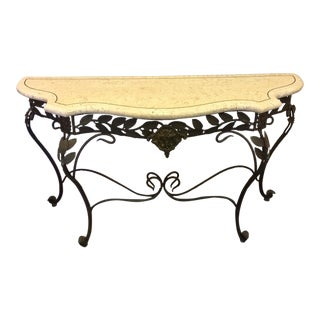 Antique Marble and Iron Console Table For Sale