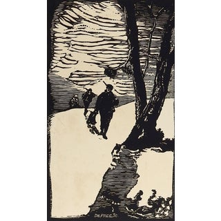 Winter Hunters Woodcut Print by John DePree For Sale
