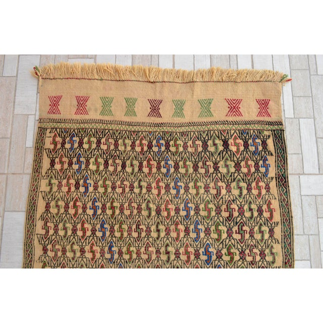 "1970s Vintage Braided Kilim Rug Turkish Hand Woven WoolRug Sofreh - 3' X 3'10"" For Sale - Image 5 of 9"