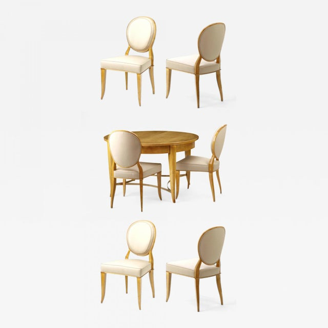 Andre Arbus Documented Rarest Sycamore Dinning Set With Six Chairs For Sale - Image 6 of 6
