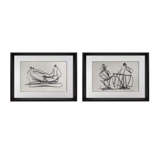 1950s Vintage Henry Moore Limited Edition Lithograph Prints - A Pair For Sale