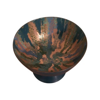 Mid Century Footed Enamel Copper Bowl For Sale