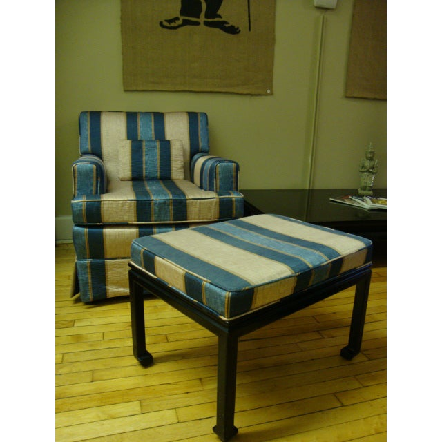 Vintage Moire Satin Armchair and Ottoman - Image 4 of 10