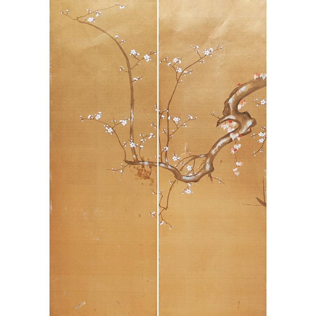 Asian 1960s Japanese Large Gold Silk Panels - Set of 2 For Sale - Image 3 of 9
