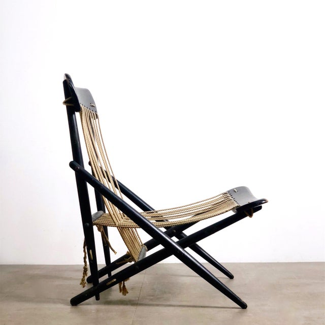 White Rare Maruni Rope Lounge Chair, Japan Circa 1950's For Sale - Image 8 of 8