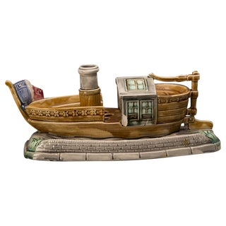 Barbotine Ceramic Boat and Cover, France c.1885 For Sale