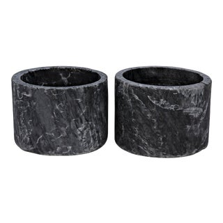 Syma Decorative Candle Holder in Black Marble - Set of 2 For Sale
