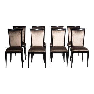 Mid-Century Chenille Velvet Ebonized Dining Chairs - Set of 8 For Sale