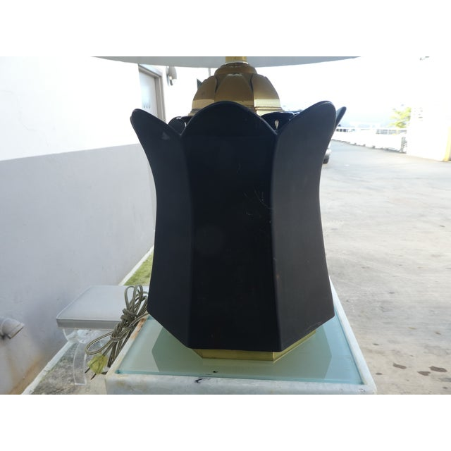 70's Brass and Black Ceramic Decorator Accent Lamp For Sale - Image 9 of 13