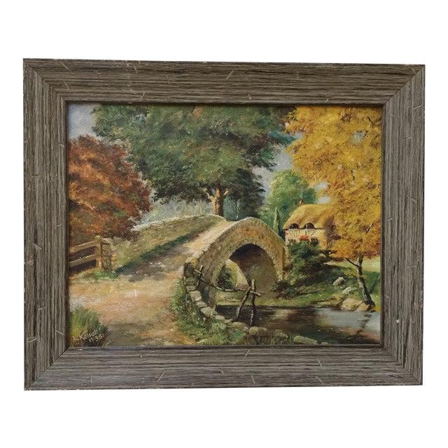 English Stone Bridge Oil Painting For Sale