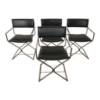 Vintage Mid-Century Chrome Directors Armchairs- Set of 4 For Sale