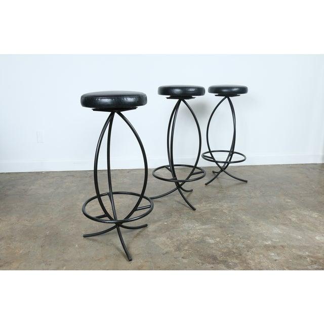 Wrought Iron Leather Seat Bar Stools - Set of 3 - Image 9 of 11