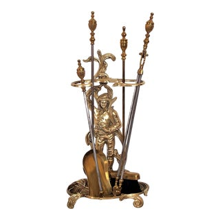 English Brass Fireplace Tool Set For Sale