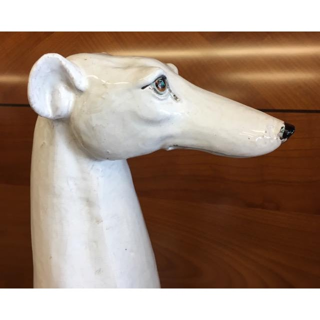 White Italian Made Greyhound or Whippet Statue For Sale - Image 8 of 12