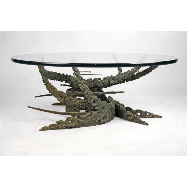 Cast and Welded Sculptural Bronze Round 'Swirl' Coffee Table by Daniel Gluck For Sale - Image 9 of 12
